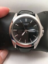 Citizen BF0580-06E Men's Leather Band Black Dial Casual Day Date Analog Watch-20