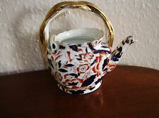 ANTIQUE IMARI FLOW BLUE SMALL TEAPOT BLOOR DERBY BAMBOO PATTERN c1830 NO LID