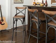 "30"" Square Wood Back Seat Bar Stool High Chair Kitchen Metal Rustic Industrial"