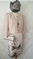 New Jacques Vert Dress Jacket Bag  Fascinator~ Size 16 ~Taupe Beige Outfit