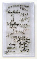 "FLONZ ""happy birthday prayer"" greeting vintage sentences clear stamps set 812"