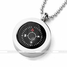 "Stainless Steel REAL Compass Pendant Bead Ball Chain Necklace 19""L Punk Jewelry"