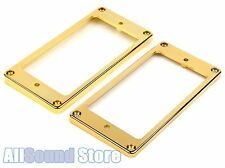 Humbucker Pickup Ring Set Plastic GOLD Neck & Bridge - Flat & Tapered / Slanted