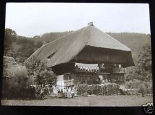 Glass Magic lantern slide LARGE EUROPEAN HOME WITH CHILDREN OUT FRONT C1910