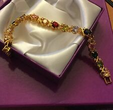 "GB130 Gold bracelet 18ct gf, multicoloured cz gems 7"" / 18cm x 7mm BOXED Plum UK"