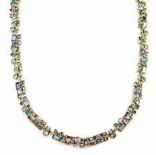 PATRICIA LOCKE Waterlily Multi Color Confetti Swarovski Crystal Gold Necklace