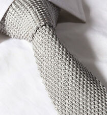 Mens 6CM Slim Knitted Tie - Grey Silver Waffle Skinny Woven Necktie Knit