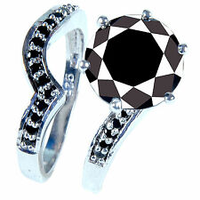 5.37.ct BLACK COLOR MOISSANITE .925 SILVER RING SIZE 8
