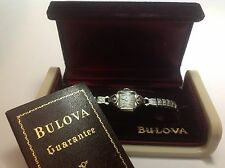 1947 Bulova 14K Wht Gold & Diamond VTG Ladies Hand-Winding Watch w/ Original Box