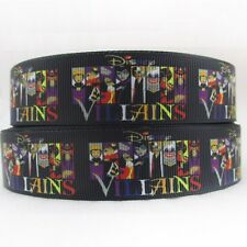 "BTY 1"" Black Disney Villains Grosgrain Ribbon Hair Bows Lanyards Lisa"