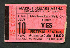 1975 Yes concert ticket stub Market Square Arena Indianapolis IN Relayer Tour