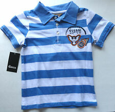 NEW GUESS BOYS 3 YEARS BLUE WHITE STRIPED POLO SHIRT  AUTH