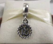New w/BOX & Tag Pandora Sterling Silver 18 Birthday Dangle Charm 790495 Eighteen