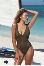 NWT Hot Miami Styles Olive Net Sides One Piece Swimsuit Sz Small