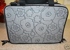 Cosmetic Bag Thirty-One Gifts Gray Quilted Poppy Pattern Make-Up Case RETIRED