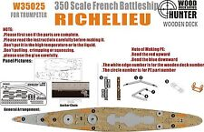 Hunter 1/350 W35025 Wood deck French Richelieu for Trumpeter