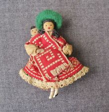VINTAGE 40'S ETHNIC BOLIVIAN COYA & BABY HAND MADE FABRIC & CELLULOID PIN