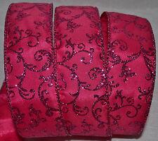 Wired Ribbon~Hot Pink Glitz Sparkle Swirl Florentine Vine~Wreath~Gift~Craft~Bow