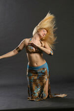 bellydance costume - blue animal print - raqs sharqi - swarovski elements