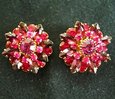 Dazzling 3D Vintage JUDY LEE Fuchsia Pink Purple Rhinestones Clip On Earrings