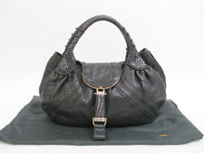 Authentic FENDI Braided Handle Black Leather Zucca Spy Bag Shoppers Bag #5814