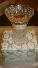 Beautiful Czech Bohemian Hand-cut Crystal Vase with Elaborate Gold & Paint