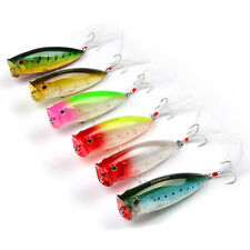 6pcs Lot Top Water Plastic Popper Lure 4# Fishing Lures 7.5cm 19g Bass Bait Box