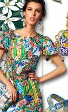 $2,495 DOLCE & GABBANA Runway 2016 Majolica Floral Print Sheath dress IT 44 US 8