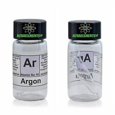Argon gas element 18 Ar sample 99,9% in mini ampoule and vial + colored label