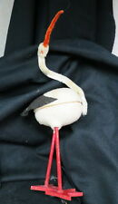large German STORK bird candy container / cotton felt wooden legs move 12 inches
