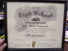 VINTAGE - EXETER HIGH SCHOOL DIPLOMA - FRAMED - 1938 - EXCELLENT