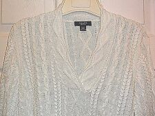 Ralph Lauren Womans White V Neck Cotton Light Cable Knit Sweater Sz L Gorgeous!