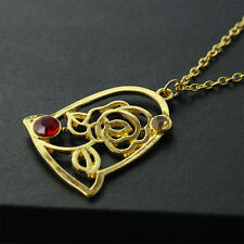 2017 Beauty and the Beast Princes Bell Rose Necklace Women Gold Pendant Chain B