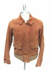 Vintage 1930s Suede Leather Jacket Talon Zipper NRA Union Tag Chin Strap