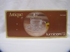 Luminarc Crystal Cup and Saucer Set New in Box JG Durand 8 Piece Set NOS