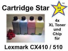 Set 4x XXL Nachfülltoner und Reset Chip für Lexmark CX410 CX510 (13000 S.)
