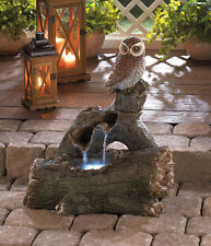 TRANQUIL OWL PERCH OUTDOOR FOUNTAIN PATIO GARDEN WATER FEATURE