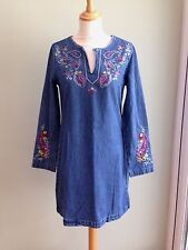 DRESS SIZE 10 BY GLAMOROUS DENIM EMBRODIERED FLORAL LONG SLEEVES BNWT