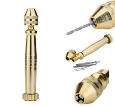 Aluminum Micro Hand Drill With Keyless Chuck + 10pc Twist Drill Bits Rotary Tool