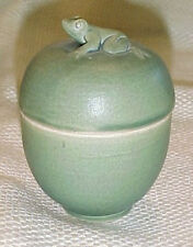 Sweet Little Celadon Green Ceramic/Pottery Egg Shape Box w/ FROG Top Bali Made