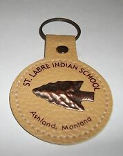 St Labre Indian School Ashland Montana Round Leather Copper Arrowhead Key Chain