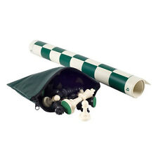 NEW Green Tournament Club Chess Set Staunton Pieces, Vinyl Board, Bag, +2 Queens