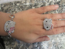 HELLO KITTY Pink Bow Swarovski Crystal Ring with matching Silver Heart Bracelet