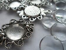 10 x 12mm Pendant/Earring Making Kit,10 x Antique Silver Pendants &  Cabochons .