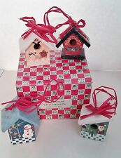 4 Small Little Tiny Wooden Bird House Christmas Ornaments Multi-Color