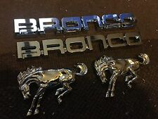 NEW FORD BRONCO FENDER NAME PLATE AND HORSE EMBLEMS LOT OF 4 PCS
