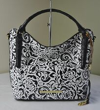 Brahmin Black Rousseau Rose Floral Embossed Leather Norah Shoulder Tote