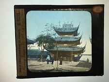 Antique 30s/40s Magic Lantern Glass Slide Flowery Dragon Temple A Tour in China