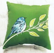 "Decorative Throw Pillow Green Watercolor Bird 16"" by Brentwood Originals"
