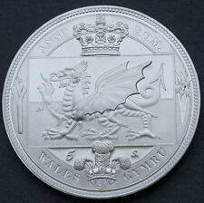 1897 UK Wales  Retro Pattern Proof Crown Pewter  Queen Victoria Coin